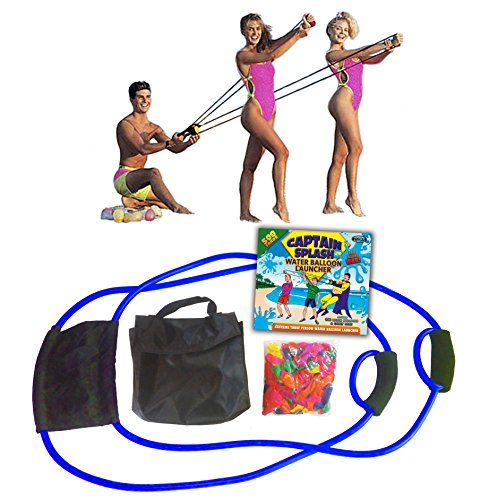 Water Balloon Launcher 500 Yards by Captain Splash, 3 Person Slingshot Cannon Catapult, 150 FREE Water Balloons & Carry Case Included (Blue, Extra Strong Latex Sling) 2019 Edition. Outdoor Games by Vivorr (Image #7)