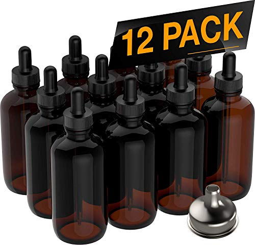 Essential Oil Dropper Bottles - Round Boston Empty Refillable Amber Bottle with Glass Dropper [ Free Stainless Steel Funnel ] for Liquid Aromatherapy Fragrance Lot - (4 oz) 120ml (12 PACK) ()