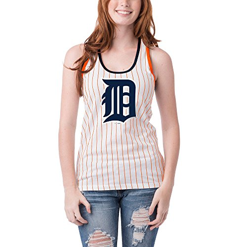 Detroit Tigers Women's Pinstripe Glitter Racerback Tank Top Medium ()
