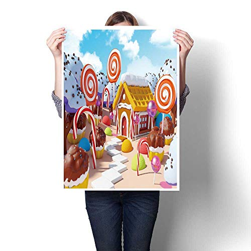The Picture for Home Decoration Candy Land Landscape with gerbread House in Sweet Forest Painting,16