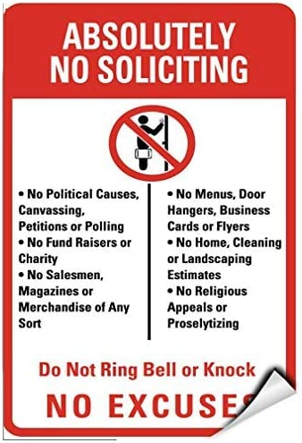 Absolutely No Soliciting No Political Causes Canvassing Vinyl Sticker Decal 8