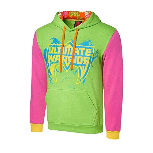 WWE Ultimate Warrior Varsity Hoodie Green/Pink Large by WWE Authentic Wear
