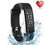 Lattie Fitness Tracker with Heart Rate Monitor, Smart Watch Activity Tracker Pedometer Sports Bracelet with Sleep Monitor Step Calorie Counter Wristband for Android and iOS Smartphone (Black)
