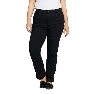 1f9d4d2cef5e Lands  End Women s Plus Size High Rise Straight Leg Black Jeans at Amazon  Women s Clothing store