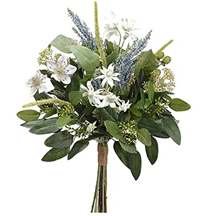 Amazon 19 nigella edelweiss astilbe silk flower bouquet 19quot nigella edelweiss astilbe silk flower bouquet whiteblue pack mightylinksfo