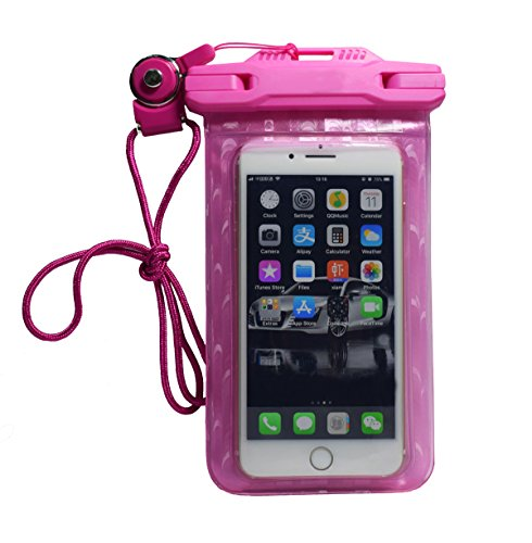 Pro-traveller Waterproof Phone Pouch Anti-Dust Case Dry Bag with Flexible Buckle Lanyard Anti-hypothermia Personality Design Apply to iPhone Android for Outdoor Travel Swimming Skiing (Shiny Rose)