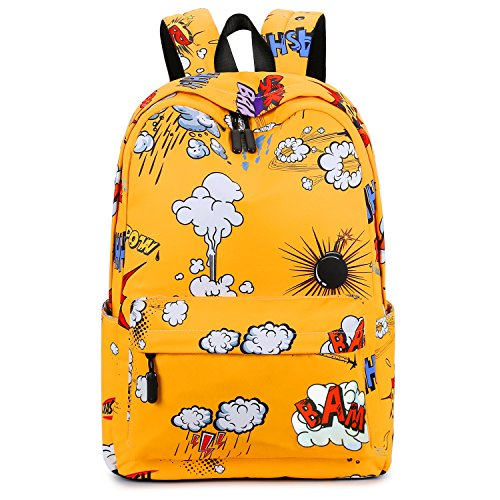 Cool School Backpack, Betiteto Water-resistant Teens Boys School Bookbags College Student Travel Laptop Bag (Yellow (with no words strap))