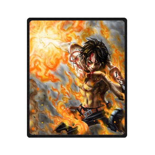 Sysuser Japan Anime Cartoon One Piece Fire Bloody Ace 50x60 Inch Creative Cotton Blanket Indoor / Outdoor Blanket