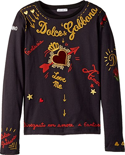 Dolce & Gabbana Kids Girl's City Embroidered T-Shirt (Big Kids) Black 8 by Dolce & Gabbana