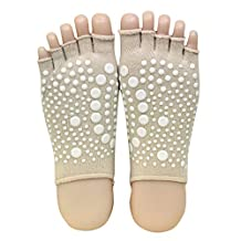 Dixperfect Toeless Yoga Socks with Grips Heels for Women
