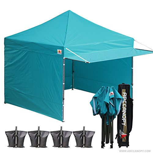 Commercial Shelter - ABCCANOPY 10x10 Easy Pop up Canopy Tent Instant Shelter Commercial Portable Market Canopy Matching Sidewalls, Weight Bags, Roller Bag,BOUNS Canopy Awning (Turquoise)