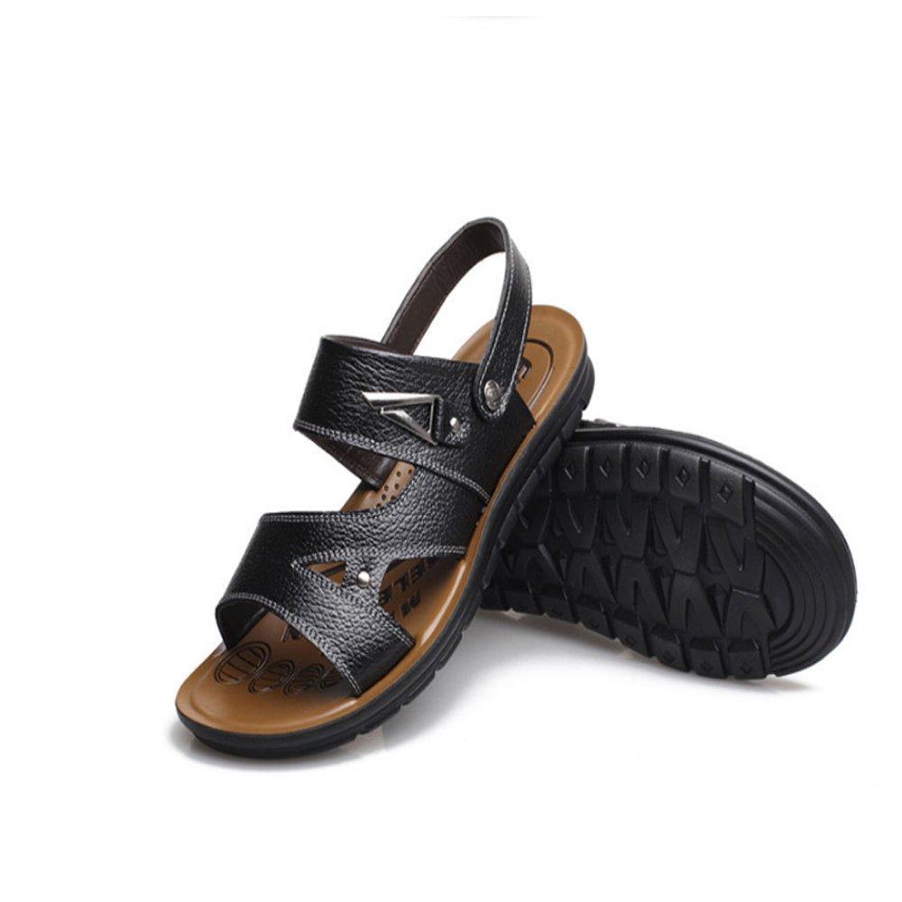 Xiaoqin Männer offene Zehe geeignet Casual Comfort Schuhe Sandalen geeignet Zehe für Innen- und Outdoor-Freizeit-Sport (Farbe : Braun, Größe : 42 2/3 EU) schwarz e6a1e6