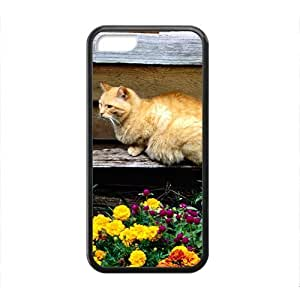 XiFu*MeiCute Adorable Cat And Flower Black Phone Case for ipod touch 5XiFu*Mei