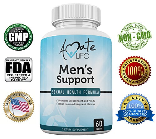 Men's Support Sexual Health Formula- Sexual Enhancement Dietary Pills for Men- Libido and Testosterone Boost- Increased Stamina and Performance- 60 Tablets- Non-GMO