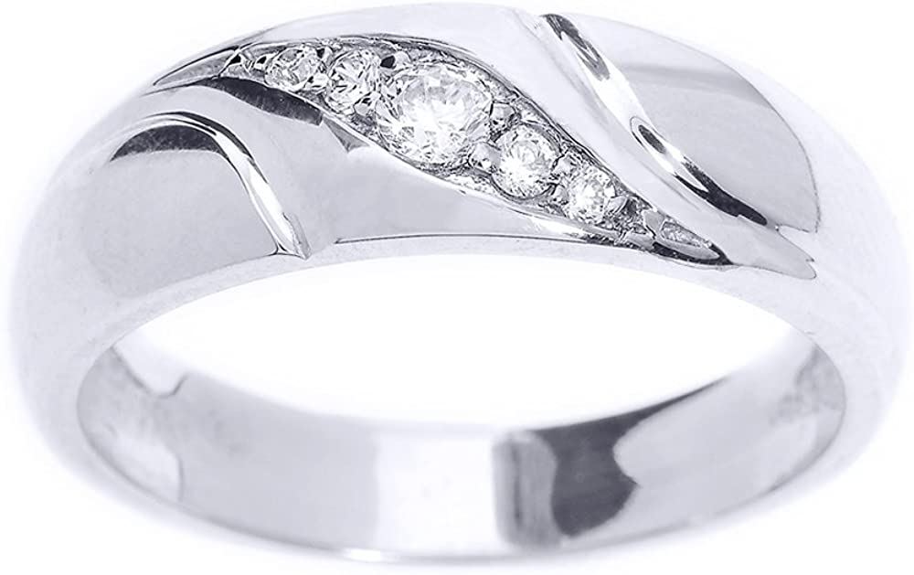 Men's 925 Sterling Silver 5-Stone Swirl Set Diamond Wedding Band
