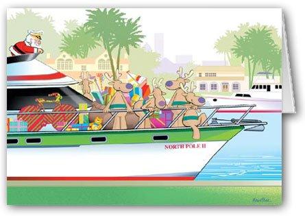 Santa's Yacht Christmas Card - Boating Card - 12 Cards & 13 Envelopes