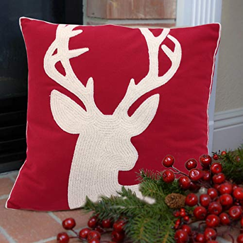 Oneslong Red Christmas Pillow Covers Embroidery Throw Pillow Cases 18x18 inch Merry Christmas Deer Reindeer Decorative Sofa Cushion Covers (Reindeer Cushion)