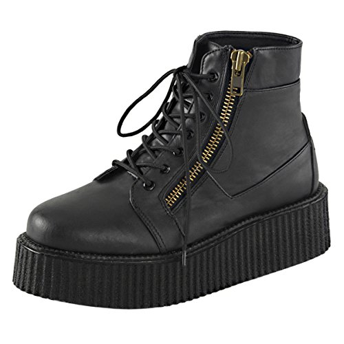 Mens Boots Sale Online (Mens Platform Boots Black Creeper Shoes Lace Up High Top Sneakers 2 In Platform Size: 13)