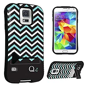 DuroCase ? Samsung Galaxy S5 Kickstand Case - (Black Mint White Chevron Q)