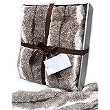Rabbit Faux Fur Throw by Nicole Miller Plush Luxury Blanket Ivory Beige Grey Tan Gray Gift Box
