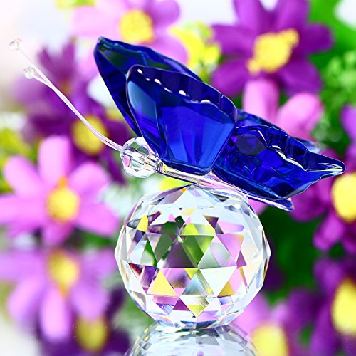 YUFENG Cute Crystal Flying Butterfly with Crystal Ball Base Figurine Collection Cut Glass Ornament Statue Animal Collectible (Blue)