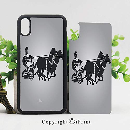 - Phone Case Compatible with iPhone X,Mythological Chariot Gladiator with Horse Traditional Greek Culture Image Decorative Cases,TPU Rubber Protective & Shockproof Covers(5.8