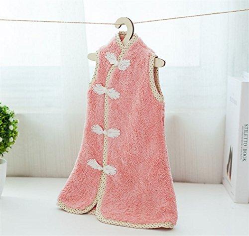 Pink Hand Kitchen Absorbent Pengcher Velvet Bathroom 1PC Lovely Dress Towels Kids Towel Coral 7xqafg0q