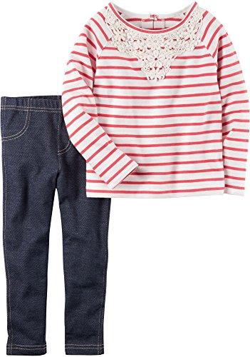 Carter's Girls 2 Pc Playwear Sets 259g330, Stripe, 3T (Carters Knit Set)