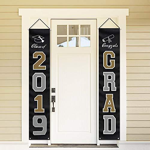 (MORDUN 2019 Graduation Party Decorations - Hanging Flags Banners Outdoor Home Door Porch Décor - Black Silver)