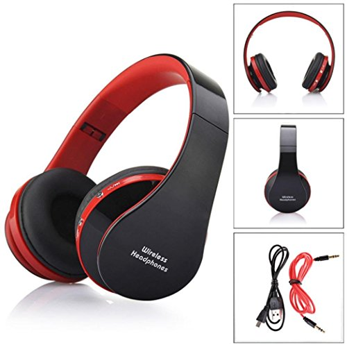 Adjustable Overhead Headphones (Foldable Wireless Headphone,Ounice Foldable Adjustable Over-head Wireless Bluetooth Stereo Headset Handsfree Headphones Earbuds with Mic USB Rechargeable,10 Hours Playtime (Red))