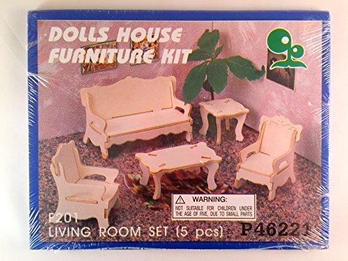 Living Room Set Wooden Doll House Furniture Kit 5 Pcs Der Grune Punkt