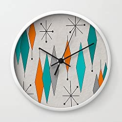 Society6 Mid-Century Modern Diamond Pattern Wall Clock White Frame, Black Hands