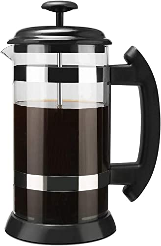 MG Coffee French Press Coffee Tea Maker 304 Stianless Steel Heat-Resistant Borosilicate Glass Pod 8cup