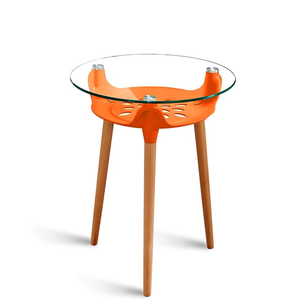 GWDJ サイドテーブル、ガラスサイドテーブル、スモールラウンドテーブルを交渉する、コーヒーテーブル、バルコニー用レジャーコーヒーテーブル、ベッドサイドテーブル、60/80 cm、7色 コーナーテーブル (色 : Orange, サイズ さいず : 80cm) B07NPLSNVR Orange 80cm