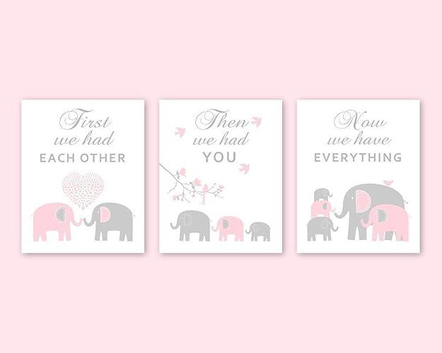 Amazon.com: Elephant Nursery Wall Art for Pink Gray Decor Animal ...