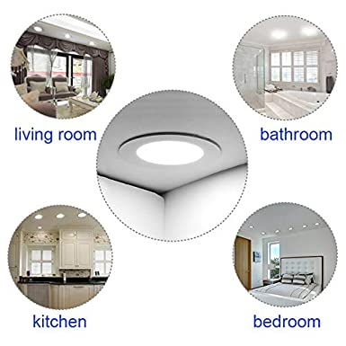 2 Pack LED Panel Light 12W 4000K Recessed Light Panel Round Ultra Slim Flat Panel Light Indoor Lighting for Home Living Room Bedroom Bathroom Office Corridor Hallways