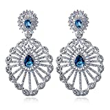 K-Elegant Luxurious Earrings For Muslim In Rhodium plated Setting With Blue Saphire