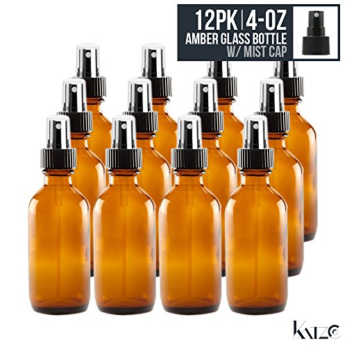 edicine Bottle - Amber Boston Brown Round Bottles 4OZ. 12 Pack - For Essential Oils, Scents, Travel, Perfume Kitchen, Bath, Cooking, Labs, Laundry, Cosmetic. - Re-Usable -By Katzco (Amber Glass Covers)