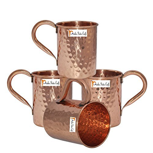 Set of 4 - Prisha India Craft ® Copper Mug for Moscow Mules 500 ML / 16.90 oz - 100% pure copper - Lacquered Finish - Hammered Style Mule Cup, Moscow Mule Cocktail Cup, Copper Mugs, Cocktail Mugs