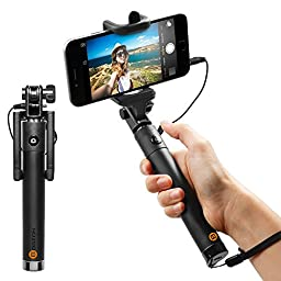 Selfie Stick, Carloue [Battery Free] Wired Selfie Stick for iPhone SE/6S/6S Plus/6/6 Plus/5S/ GalaxyS7/ Galaxy S7 Edge/ Nexus 6p/ LG G5 and More