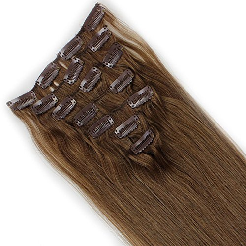 VANLINKE Clip in Remy Human Hair Extensions 7PCS Full Head Straight (18inch 70g, 8 Chestnut Brown)