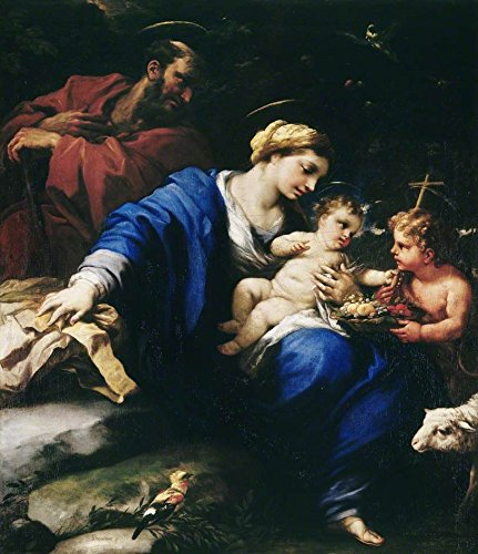 Cutler Miles The Holy Family With The Infant Saint John The Baptist by Luca Giordano, Aka Luca Fa Presto Hand Painted Oil on Canvas Reproduction Wall Art. 27x30 by Cutler Miles