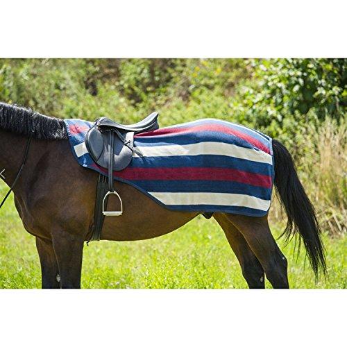 EQUI-THÈME Stripe Nierendecke aus Polarfleece - Farbe - Marineblau/bordeauxrot/sandfarben, Größe - 135 cm