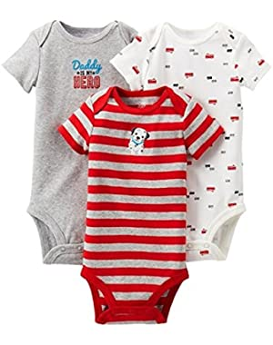 Boys' Daddy's My Hero/Fire Truck 3 pack Short-sleeve Bodysuit Set - Red/Gray (Newborn)