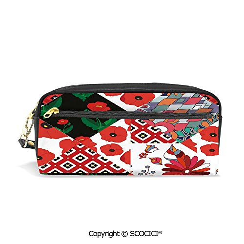 (Students PU Pencil Case Pouch Women Purse Wallet Bag Patchwork Inspired Pattern with Poppy Flowers Russian Slavic Cultural Design Revival Waterproof Large Capacity Hand Mini Cosmetic Makeup Bag )