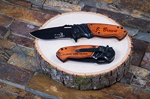 Personalized Pocket Knife with Wooden Gift Box | Engraved Wood Hunting Knives | Personalized Gift for Him, Groomsmen Gifts & Anniversary Gifts for Men (Front+Back Engraving)