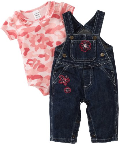 Carhartt Baby Girls' Washed Bib Overall Set