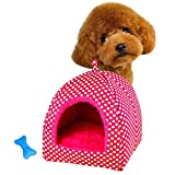 GBSELL New Pet Dog Cat Puppy Dot Stripe Bed House Kennel Doggy Warm Cushion Basket (S, Hot Pink)