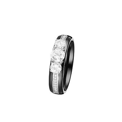 Mes-bijoux.fr Bague céramique Noire, Argent et oxydes de Zirconium Précieuse 1211cf316dfd