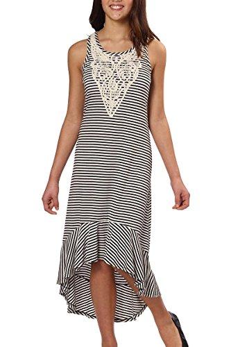 Paper Doll Girls' High-Low Sleeveless Dress (Black/Ivory Stripe) (Girls Sleeveless Pique)